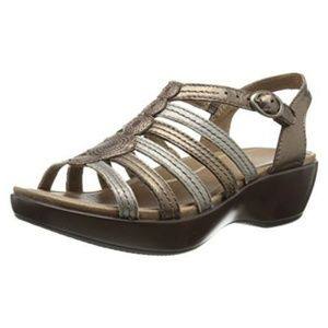 Dansko Drea Metallic Leather Wedge Sandals